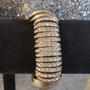 Gold Tone Stretch Crystal Bracelet